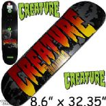 "CREATURE ""Green"" XL Skateboard Deck 8.6"" x 32.35""  Black Vert Pool Powerply"